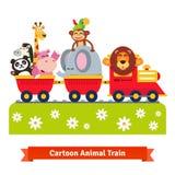 动画片愉快的动物火车 机车和汽车 免版税图库摄影