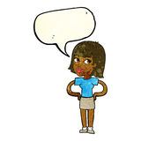 动画片愉快的妇女用在臀部的手与讲话泡影 免版税图库摄影