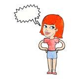 动画片愉快的妇女用在臀部的手与讲话泡影 图库摄影