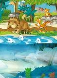 动画片愉快的恐龙-三角恐龙梁龙乌龟和其他水下的恐龙 免版税库存图片