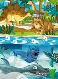 动画片愉快的恐龙-暴龙三角恐龙肉食鸟梁龙军刀牙乌龟和其他水下的恐龙 免版税库存照片