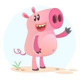 动画片愉快的猪 动物农场横向许多sheeeps夏天 导航在简单的背景一微笑的贪心隔绝的例证 向量例证