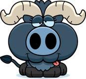 动画片愚蠢的矮小的蓝色黄牛 向量例证