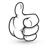 动画片手拇指上升传染媒介例证 免版税库存图片