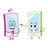 动画片手机字符,一显示的爱,另一指向,笑 库存照片