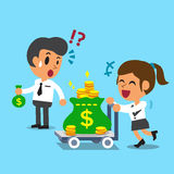 动画片拿着小金钱的女实业家推挤金钱台车的和商人请求 免版税库存照片
