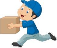 动画片拿着箱子的送货人 免版税库存照片