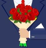 动画片拿着花束花的商人手 免版税库存图片