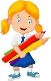 动画片拿着铅笔的学校女孩 免版税库存照片