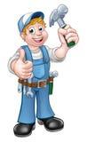动画片拿着锤子的木匠杂物工 免版税库存图片