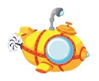 动画片探测深海小潜艇 免版税库存图片