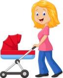 动画片推挤婴儿车的母亲 库存图片