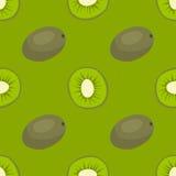 动画片新鲜的猕猴桃在平的样式无缝的样式食物夏天设计传染媒介例证 库存照片