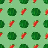 动画片新鲜的西瓜果子在平的样式无缝的样式食物夏天设计传染媒介例证 免版税库存照片
