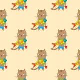 动画片无缝猫的模式 免版税库存照片