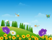 动画片昆虫在庭院里 向量例证