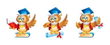 动画片明智的猫头鹰老师或教授字符 免版税库存照片