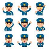 动画片显示不同的情感的警察面孔 库存图片