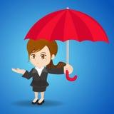 动画片有伞的例证女实业家 免版税图库摄影