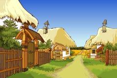 动画片有房子的村庄街道 库存照片