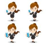 动画片有智能手机的例证女实业家 免版税库存照片