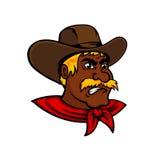 动画片有皮革帽子的moustached牛仔 免版税库存照片
