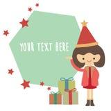 动画片有空的空间的圣诞老人女孩您的文本的 库存照片
