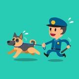 动画片有警察护卫犬的治安警卫警察 向量例证