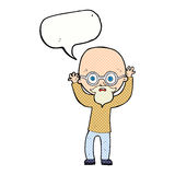动画片有讲话泡影的被注重的秃头人 免版税库存照片