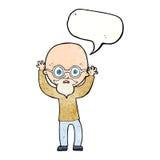 动画片有讲话泡影的被注重的秃头人 库存照片