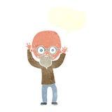 动画片有讲话泡影的被注重的秃头人 免版税库存图片