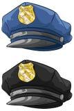 动画片有金黄徽章集合的警察帽子 库存图片