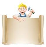 动画片木匠和纸卷 库存图片