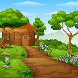 动画片木客舱在森林里 免版税库存图片