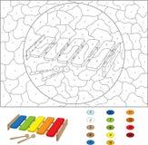 动画片木琴在白色的彩图 由麻木的颜色 库存照片