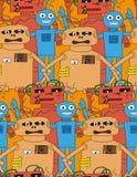 动画片机器人无缝的样式 库存图片