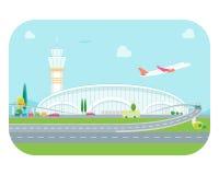 动画片机场大厦和飞机 向量 免版税库存照片
