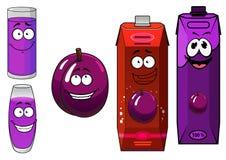 动画片李子汁包装与玻璃和果子 库存照片