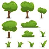 动画片树、树篱和被设置的草叶子 免版税库存照片
