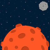 动画片样式与行星的空间背景 免版税库存照片