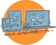 动画片样式恼怒的片剂 库存照片
