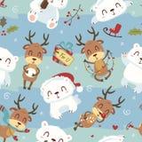 动画片样式逗人喜爱的北极熊和鹿无缝的样式 皇族释放例证