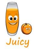 动画片桃子或杏子用汁液 免版税库存图片