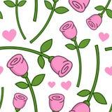 动画片桃红色罗斯无缝的样式 免版税库存照片