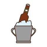 动画片桶啤酒冷却冰设计 库存照片