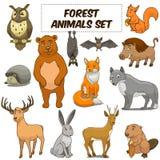 动画片森林动物被设置的传染媒介 免版税库存图片