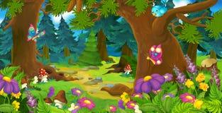 动画片森林场面-孩子的例证 免版税库存图片