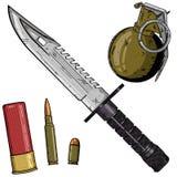 动画片武器被设置在白色背景 美国武器集合 免版税库存图片