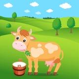 动画片母牛在绿色草甸和一个桶牛奶 标签的,贴纸,印刷品,包装,网背景 免版税库存图片