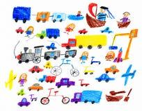 动画片比赛玩具和人汇集,画在纸,手拉的艺术图片的孩子对象 库存例证